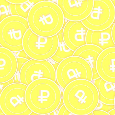 Russian ruble gold coins seamless pattern. Classic scattered yellow RUB coins. Success concept. Russia money pattern. Coin vector illustration. Illustration