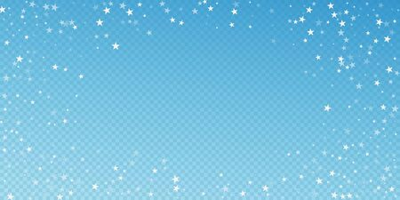 Random falling stars Christmas background. Subtle flying snow flakes and stars on blue transparent background. Bewitching winter silver snowflake overlay template. Appealing vector illustration.