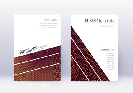 Geometric cover design template set. Orange abstract lines on wine red background. Brilliant cover design. Captivating catalog, poster, book template etc.
