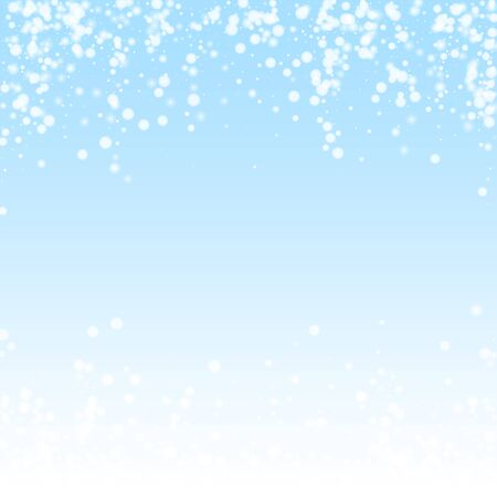 Beautiful falling snow Christmas background. Subtle flying snow flakes and stars on winter sky background. Awesome winter silver snowflake overlay template. Artistic vector illustration.