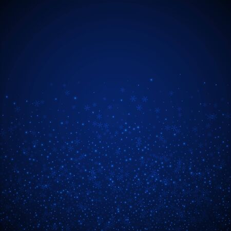 Beautiful glowing snow Christmas background. Subtle flying snow flakes and stars on dark blue night background. Alluring winter silver snowflake overlay template. Delightful vector illustration. Stock Illustratie