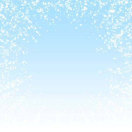 Magic stars sparse Christmas background. Subtle flying snow flakes and stars on winter sky background. Beauteous winter silver snowflake overlay template. Amusing vector illustration.