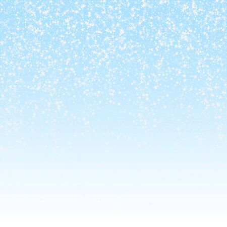 Amazing falling stars Christmas background. Subtle flying snow flakes and stars on winter sky background. Bizarre winter silver snowflake overlay template. Amazing vector illustration.