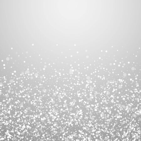 Magic stars sparse Christmas background. Subtle flying snow flakes and stars on light grey background. Alluring winter silver snowflake overlay template. Extraordinary vector illustration.