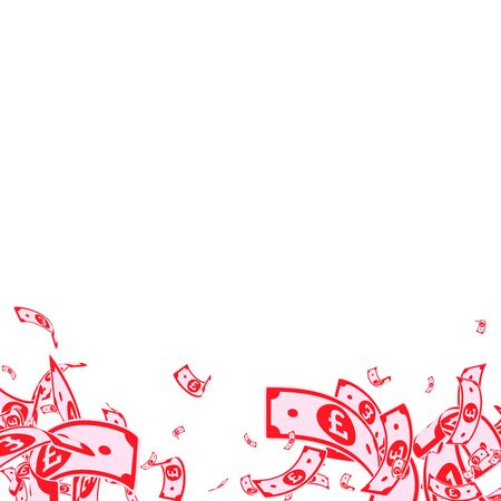 British pound notes falling. Messy GBP bills on white background. United Kingdom money. Astonishing vector illustration. Memorable jackpot, wealth or success concept.