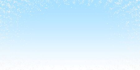 Amazing falling stars Christmas background. Subtle flying snow flakes and stars on winter sky background. Bewitching winter silver snowflake overlay template. Popular vector illustration. Illustration