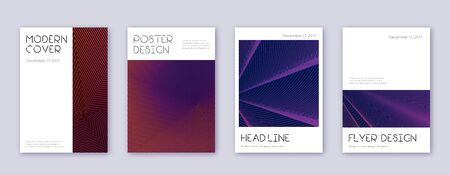 Minimal brochure design template set. Violet abstract lines on dark background. Artistic brochure design. Magnificent catalog, poster, book template etc. 矢量图像