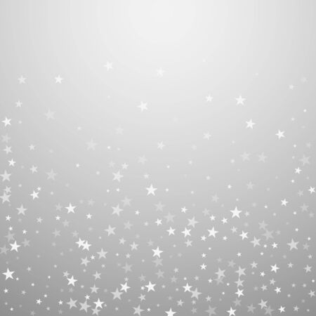 Random falling stars Christmas background. Subtle flying snow flakes and stars on light grey background. Adorable winter silver snowflake overlay template. Attractive vector illustration.