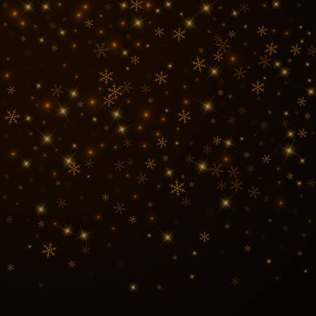 Superposición de Navidad de nieve estrellada escasa. Luces de Navidad, bokeh, copos de nieve, estrellas sobre fondo nocturno. Plantilla de superposición brillante real de lujo. Ilustración de vector creativo. Ilustración de vector