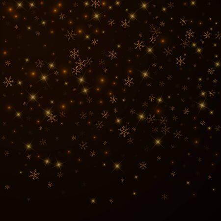 Superposition de Noël de neige étoilée clairsemée. Lumières de Noël, bokeh, flocons de neige, étoiles sur fond de nuit. Modèle de superposition étincelante de luxe. Illustration vectorielle créative. Vecteurs