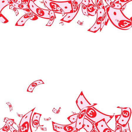 British pound notes falling. Messy GBP bills on white background. United Kingdom money. Attractive vector illustration. Dazzling jackpot, wealth or success concept.