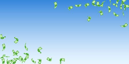 American dollar notes falling. Sparse USD bills on blue sky background. USA money. Curious vector illustration. Elegant jackpot, wealth or success concept.