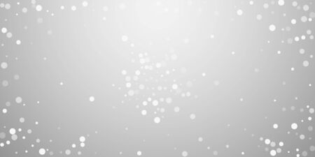 White dots Christmas background. Subtle flying snow flakes and stars on light grey background. Artistic winter silver snowflake overlay template. Creative vector illustration. 向量圖像