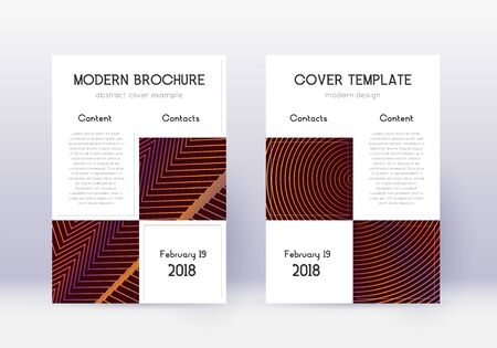 Business cover design template set. Orange abstract lines on wine red background. Artistic cover design. Overwhelming catalog, poster, book template etc. Illusztráció