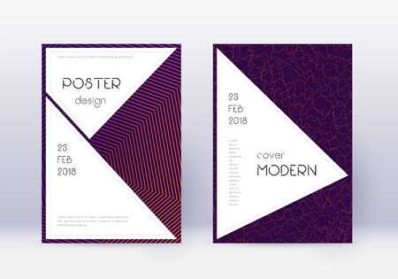 Stylish cover design template set. Violet abstract lines on dark background. Fascinating cover design. Posh catalog, poster, book template etc.