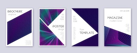 Triangle brochure design template set. Neon abstract lines on dark blue background. Bold brochure design. Valuable catalog, poster, book template etc.