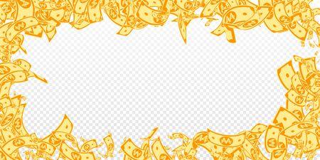 Korean won notes falling. Messy WON bills on transparent background. Korea money. Delightful vector illustration. Pleasing jackpot, wealth or success concept. Illustration