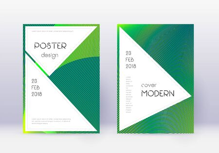Stylish cover design template set. Green abstract lines on dark background. Fancy cover design. Comely catalog, poster, book template etc.