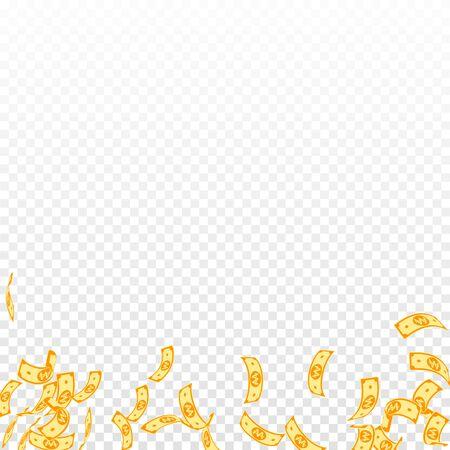 Korean won notes falling. Sparse WON bills on transparent background. Korea money. Cute vector illustration. Energetic jackpot, wealth or success concept.