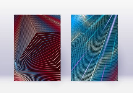 Cover design template set. Abstract lines modern brochure layout. Red vibrant halftone gradients on white blue background. Fine brochure, catalog, poster, book etc. Illustration