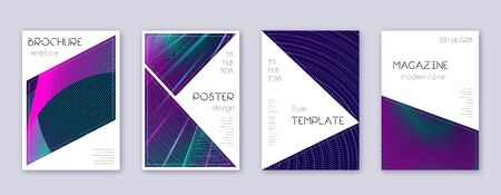 Triangle brochure design template set. Neon abstract lines on dark blue background. Breathtaking brochure design. Alive catalog, poster, book template etc. Illustration