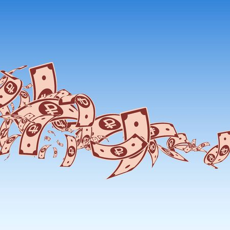 Russian ruble notes falling. Messy RUB bills on blue sky background. Russia money. Bold vector illustration. Extraordinary jackpot, wealth or success concept.