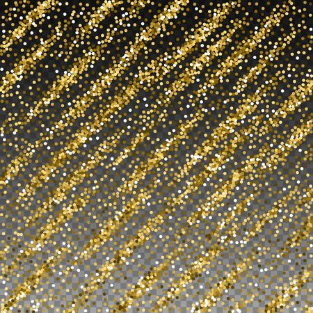 Round gold glitter luxury sparkling confetti. Scattered small gold particles on transparent background. Alluring festive overlay template. Authentic vector illustration. Illusztráció