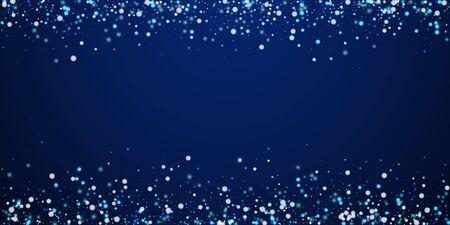Beautiful falling snow Christmas background. Subtle flying snow flakes and stars on dark blue night background. Amusing winter silver snowflake overlay template. Optimal vector illustration. Illusztráció