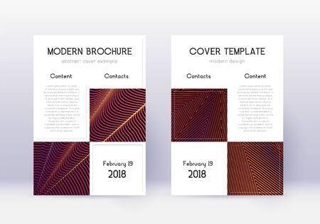 Business cover design template set. Orange abstract lines on wine red background. Artistic cover design. Interesting catalog, poster, book template etc.