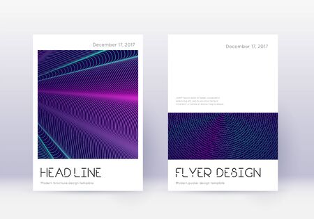 Minimal cover design template set. Neon abstract lines on dark blue background. Delightful cover design. Marvelous catalog, poster, book template etc. Illusztráció