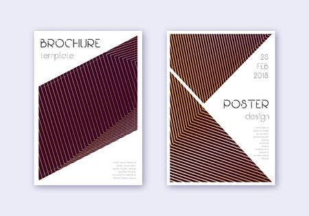 Triangle cover design template set. Gold abstract lines on maroon background. Great cover design. Optimal catalog, poster, book template etc.