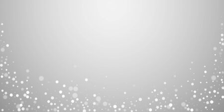 Magic stars random Christmas background. Subtle flying snow flakes and stars on light grey background. Authentic winter silver snowflake overlay template. Awesome vector illustration. Illusztráció