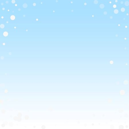 White dots Christmas background. Subtle flying snow flakes and stars on winter sky background. Amusing winter silver snowflake overlay template. Magnificent vector illustration.