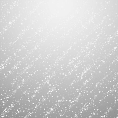 Amazing falling stars Christmas background. Subtle flying snow flakes and stars on light grey background. Adorable winter silver snowflake overlay template. Superb vector illustration.