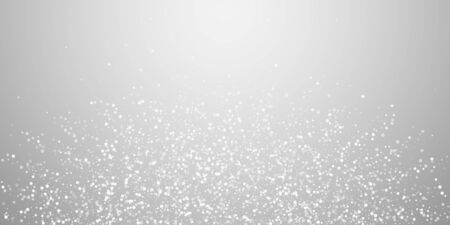 Random white dots Christmas background. Subtle flying snow flakes and stars on light grey background. Astonishing winter silver snowflake overlay template. Pleasant vector illustration. Illusztráció