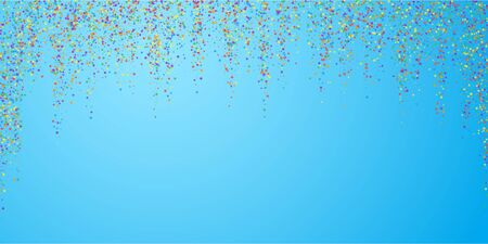 Festive confetti. Celebration stars. Childish bright stars on blue sky background. Dazzling festive overlay template. Alluring vector illustration.
