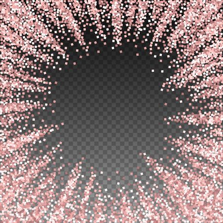 Pink gold glitter luxury sparkling confetti. Scattered small gold particles on transparent background. Appealing festive overlay template. Likable vector illustration. Illusztráció