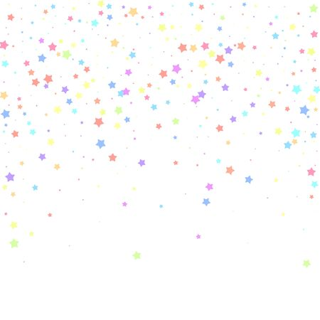 Festive confetti. Celebration stars. Colorful stars random on white background. Eminent festive overlay template. Delicate vector illustration.