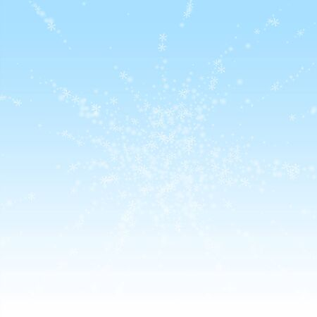 Beautiful glowing snow Christmas background. Subtle flying snow flakes and stars on winter sky background. Authentic winter silver snowflake overlay template. Outstanding vector illustration.