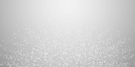 Amazing falling stars Christmas background. Subtle flying snow flakes and stars on light grey background. Astonishing winter silver snowflake overlay template. Great vector illustration.