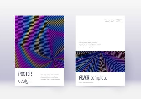 Minimalistic cover design template set. Rainbow abstract lines on dark blue background. Elegant cover design. Stunning catalog, poster, book template etc.