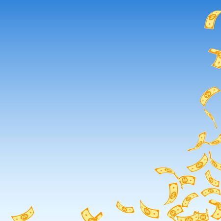 Korean won notes falling. Sparse WON bills on blue sky background. Korea money. Cute vector illustration. Lively jackpot, wealth or success concept.
