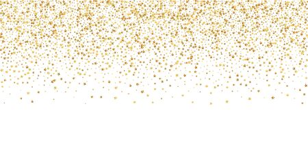 Gold stars luxury sparkling confetti. Scattered small gold particles on white background. Breathtaking festive overlay template. Exquisite vector illustration.  イラスト・ベクター素材