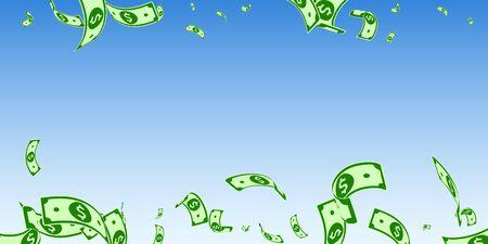 American dollar notes falling. Random USD bills on blue sky background. USA money. Curious vector illustration. Rare jackpot, wealth or success concept. Standard-Bild - 134892068