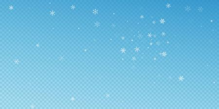 Sparse snowfall Christmas background. Subtle flying snow flakes and stars on blue transparent background. Astonishing winter silver snowflake overlay template. Fair vector illustration.