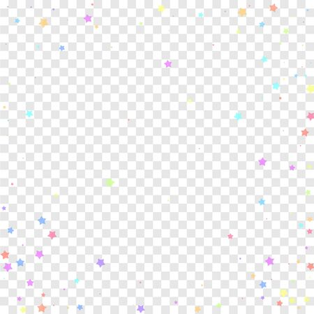 Festive confetti. Celebration stars. Colorful stars random on transparent background. Comely festive overlay template. Nice vector illustration. Illustration