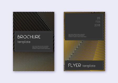 Black cover design template set. Gold abstract lines on black background. Alluring cover design. Actual catalog, poster, book template etc.