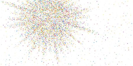Festive confetti. Celebration stars. Colorful confetti on white background. Cute festive overlay template. Fresh vector illustration.