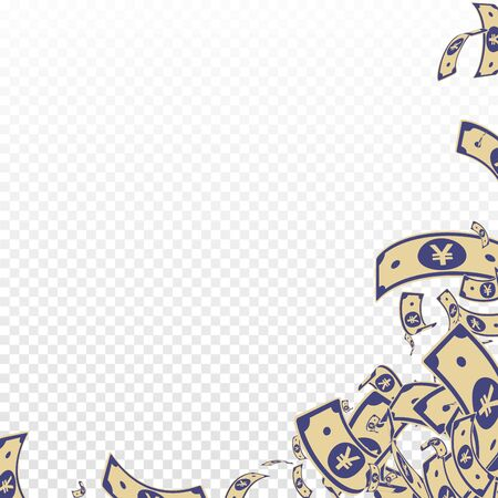 Chinese yuan notes falling. Messy CNY bills on transparent background. China money. Divine vector illustration. Fascinating jackpot, wealth or success concept.