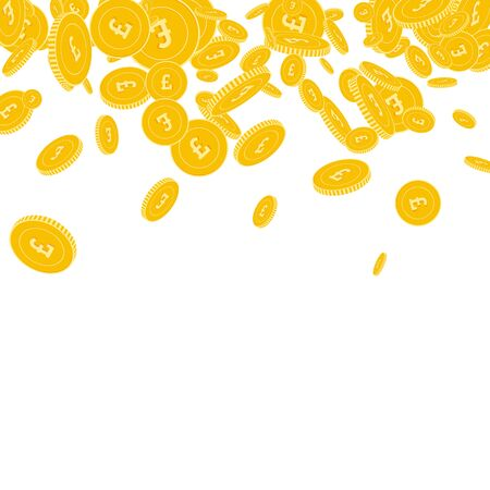British pound coins falling. Scattered floating GBP coins on white background. Uncommon scatter top gradient vector illustration. Jackpot or success concept.